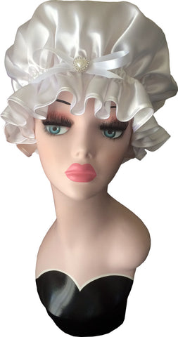 Bridal White Satin Shower Cap