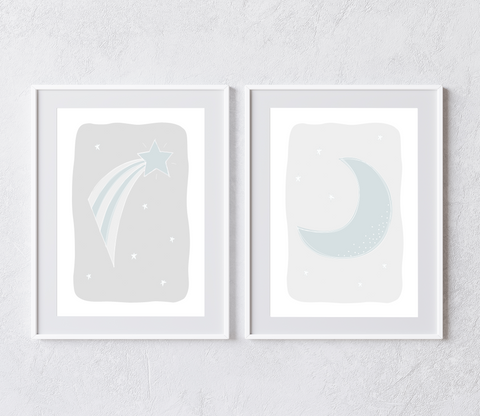 Moon and Stars Collection (set of 2 prints)