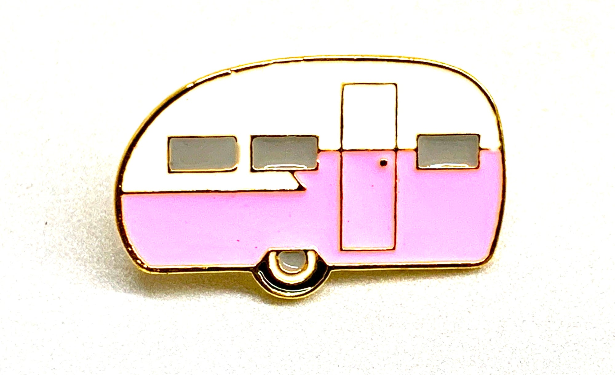 Pink and White Shasta Travel Trailer Canned Ham Lapel / Hat / Jacket Enamel Pin