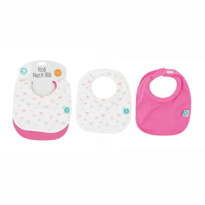 2 Pack Roll Neck Bibs - Bows