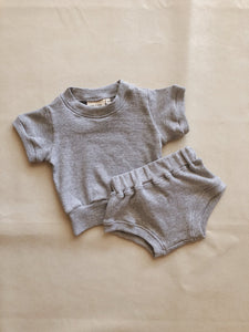Roo Ribbed Set - Grey Marle