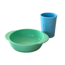 Load image into Gallery viewer, Silicon Bowl & Cup Set | Mint & Blue