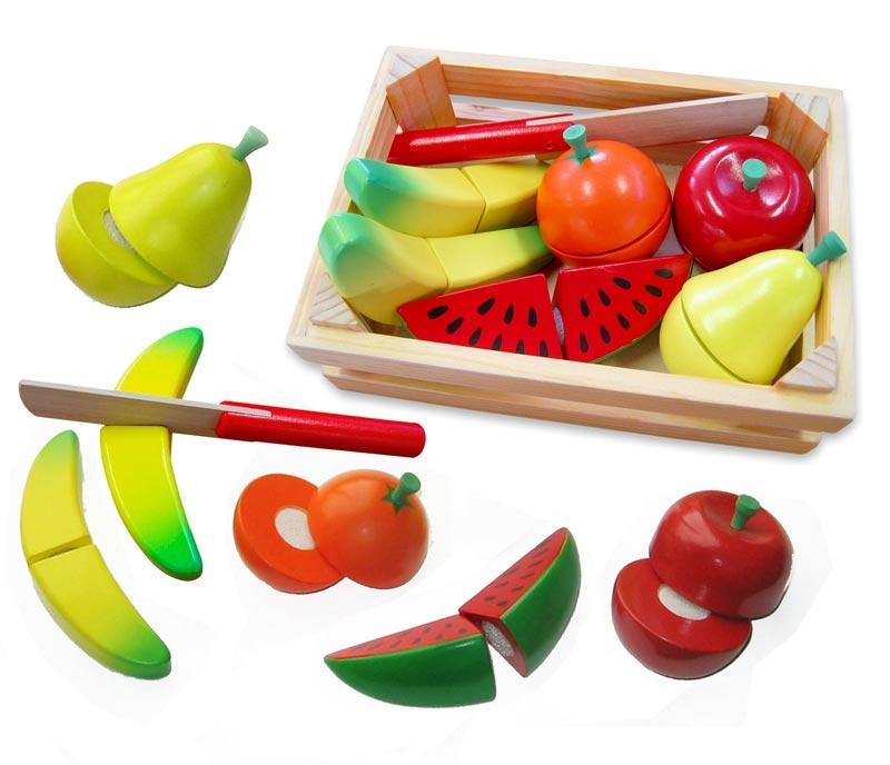 Wooden Cutting Fruit with Knife