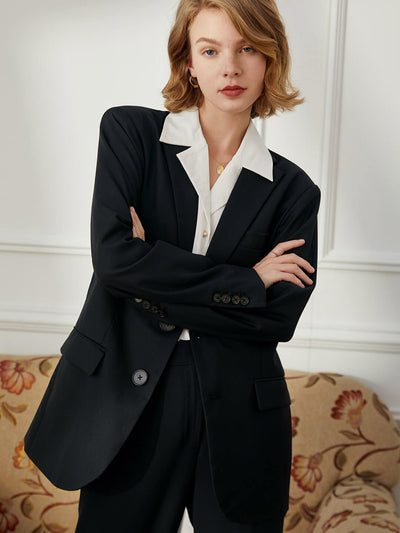 Veste Costume Noir-Simple Retro FR