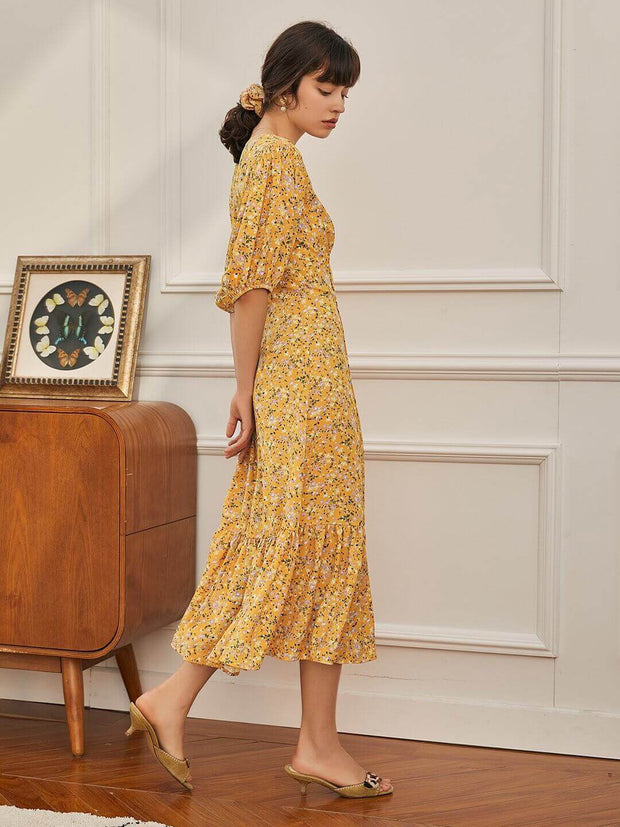 Robe à Manches Bouffantes Lena-Simple Retro FR