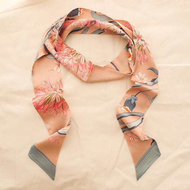 Chowxiaodou 16 Momme Agapanthus Silk neck bow -Pink