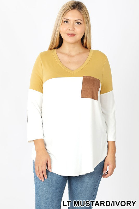 Zenana Color Block V-Neck with Chest Pocket & Elbow Patch
