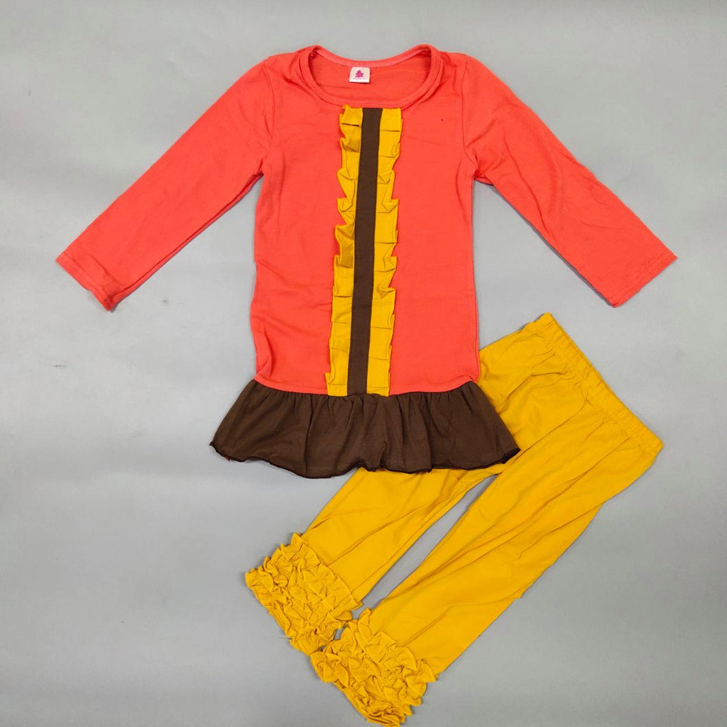 Two-piece Orange Top and Pants with Ruffles