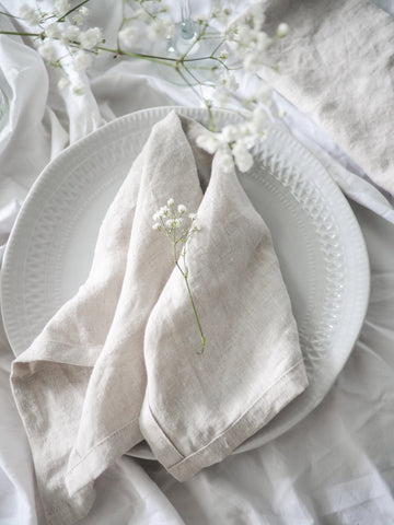 Pure Linen Table Napkins in Snow White
