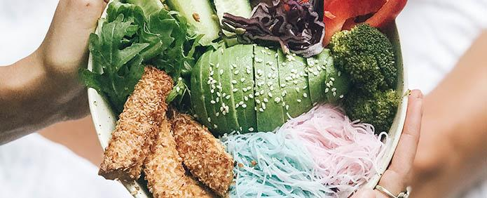 Rainbow Buddha Bowl with Coconut Crusted Tofu