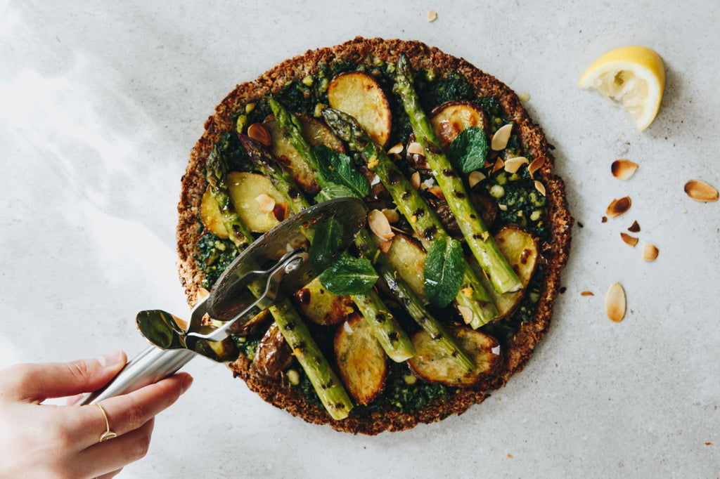 Luna & Fennel Cauliflower Crust Pizza with Pesto and Asparagus
