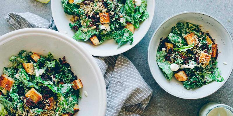 Gold & Green Vegan Caesar Salad