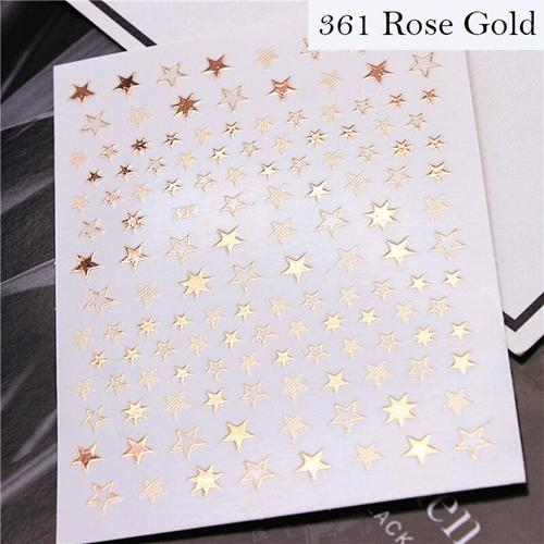 Lovely Stars Geometry 3D Nails Art Sticker gold/silver/rose gold