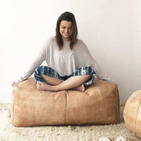 minda living long pouf earth vegetable tanned leather