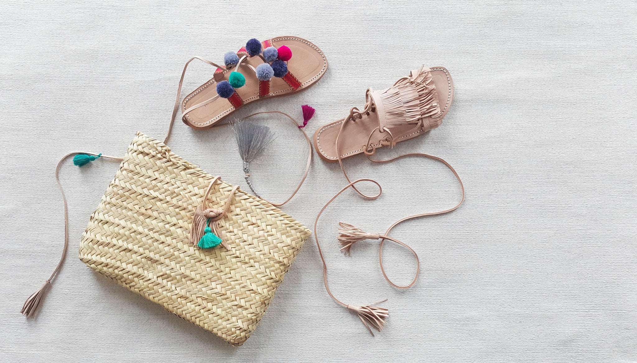 woven pouch clutch for sandals