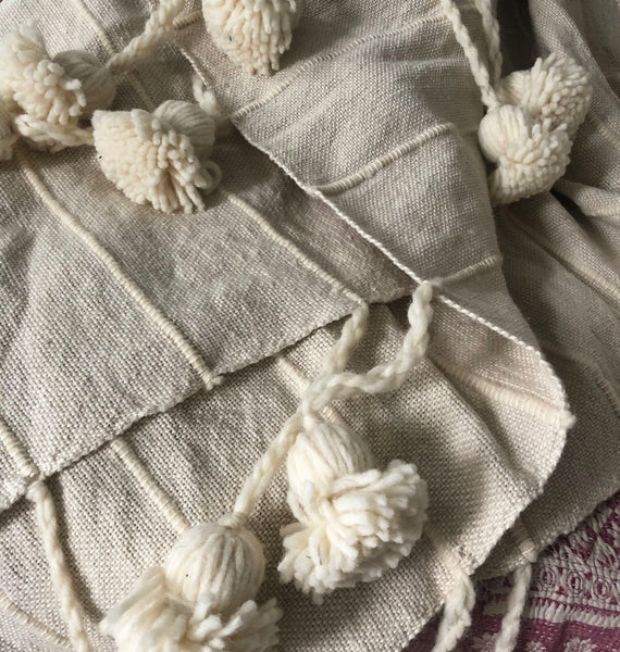 Oat Cotton + Wool Pom Blanket
