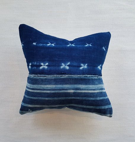 indigo and stripe pillow