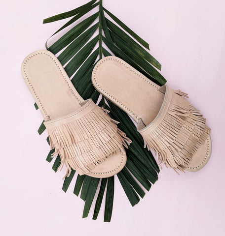 Leather fringe sandals