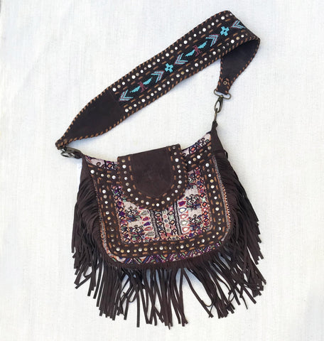 Dark Brown Fringe + Vintage Textile Bag