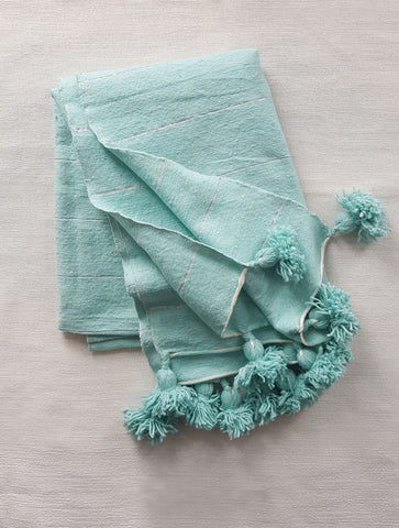 S E A : cotton pom blanket