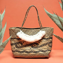 Load image into Gallery viewer, Borneo Medio Straw Tote Bag - Hand Bag with White Roman Tassels
