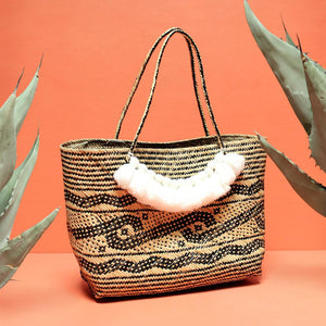 Borneo Medio Straw Tote Bag - Hand Bag with White Roman Tassels