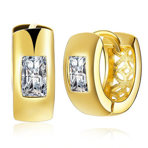 Huggie Earring in 18K Gold Plated with Swarovski Crystals