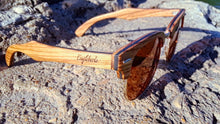 Load image into Gallery viewer, Ebony and ZebraWood Sunglasses, Tea Colored Polarized Lenses