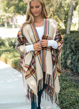 Load image into Gallery viewer, Saffron Plaid Ruana Poncho