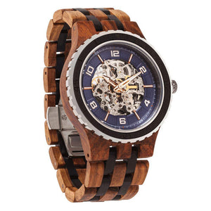 Premium Self-Winding Transparent Body Ambila Ebony Men's Wood Watch