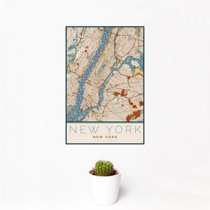 New York Map Print in Woodblock
