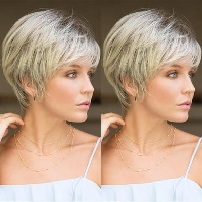 2021 New Sweet Light White Gold Short Wig