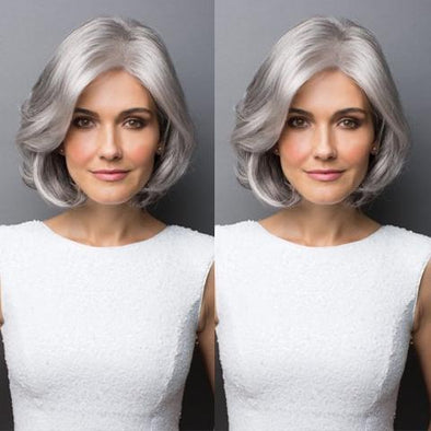 2021 New Silver Grey Roll BOB Wig