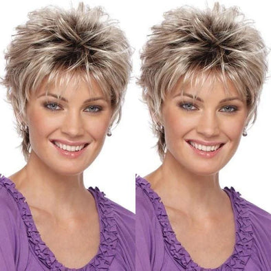 2021 New Gold Grey Short Wig