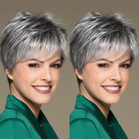 Sky Gradient Silver Gray Short Wig