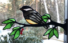Load image into Gallery viewer, stained glass chickadee on a window frame metal branch with red berries