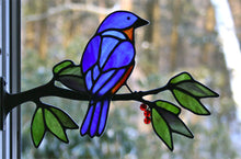 Load image into Gallery viewer, stained glass eastern bluebird on a window frame metal branch with red berries