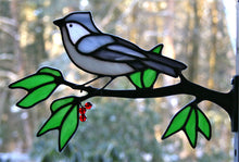 Load image into Gallery viewer, stained glass tufted titmouse on a window frame metal branch with red berries