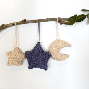 Open image in slideshow, Christmas ornaments: stars and moon