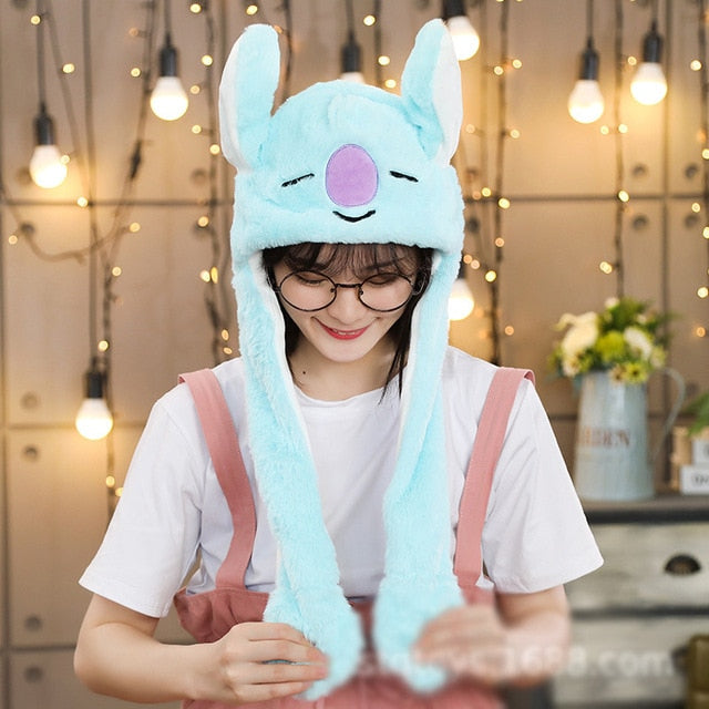 Kocozo Rabbit Hat with Moving Ears Cute Cartoon Toy Hat Airbag Kawaii Funny Toy Cap Kids Plush Toy Birthday Gift  Hat for Girls