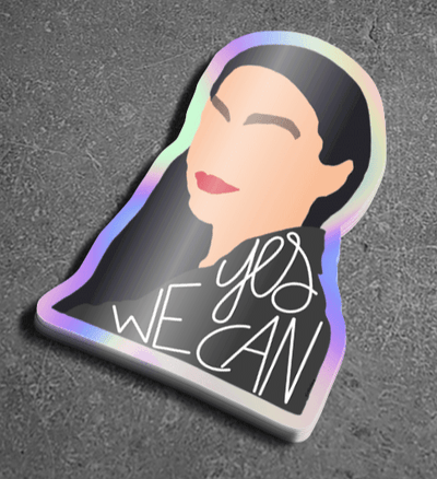 Sticker with a drawing of Alexandria Ocasio-Cortez and Yes We Can text