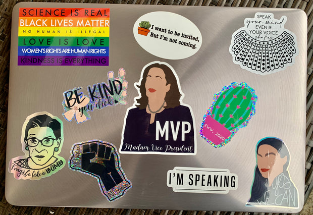 Girl Riot Stickers on a Laptop