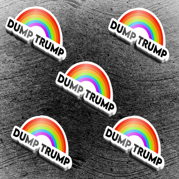 Vinyl sticker that says Dump Trump with a drawing of a rainbow