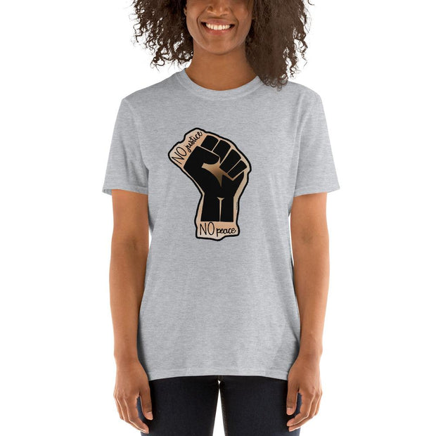 Light gray t-shirt with a drawing of the Black Lives Matters fist and text that says No Justice No Peace