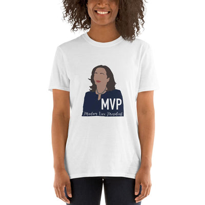 White t-shirt with a drawing of Kamala Harris and text that says MVP Madam Vice President