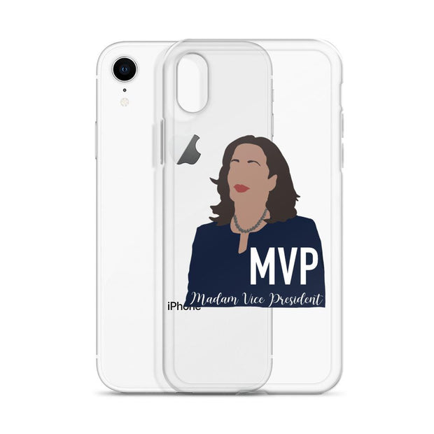 iPhone case with a drawing of Kamala Harris and text that says MVP Madam Vice President
