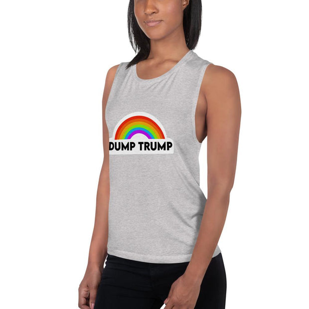 Dump Trump Rainbow Ladies' Muscle Tank - Girl Riot Shop