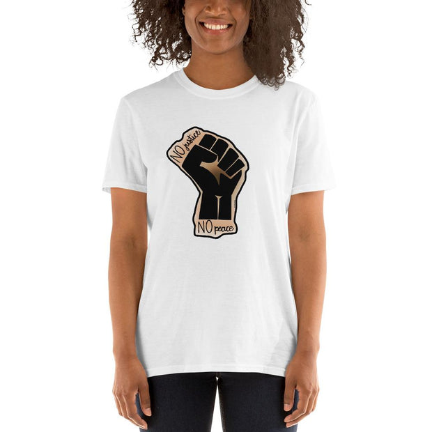 White t-shirt with a drawing of the Black Lives Matters fist and text that says No Justice No Peace