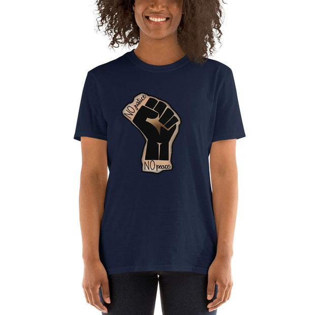 Navy t-shirt with a drawing of the Black Lives Matters fist and text that says No Justice No Peace