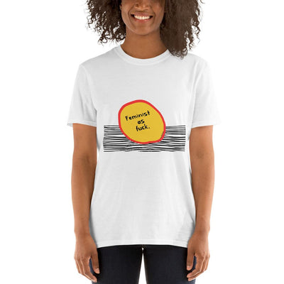 White t-shirt with design that says Feminist as Fuck with yellow circle and black lines design